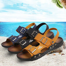 New Mens Casual Genuine Leather Beach Outdoor Flip-flops Slippers Sandals Shoes