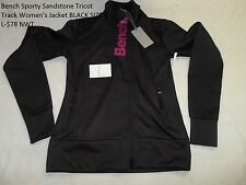 Bench Sporty Sandstone Tricot Track Women's Jacket BLACK SIZE L-$78 NWT