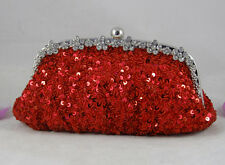 Red Hot Sparkle Beaded Sequined Crystal Frame Big Evening Clutch & Other Colors