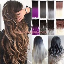 100% Real Ombre Full Head Clip In On Hair Extensions Straight Wavy as human hair