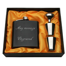 Personalised Engraved 6oz Hip Flask Funnel Cups Box Wedding Birthday Xmas Gift