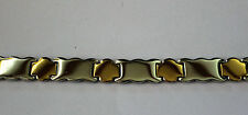 COOL  MENS STAINLESS STEEL GOLD & SILVER LINK STYLE WRISTBAND BANGLE BRACELET,