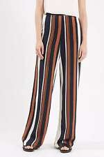 Ex Topshop Ladies Brown Navy Stripe Wide Leg Trousers Tall or Short Size 8-16