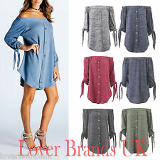NEW WOMENS LADIES OFF THE SHOULDER BARDOT KNITTED BUTTON  SHIRT DRESS TOP 8-16