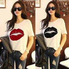 Lips Print Womens Girl Fashion Cotton Basic T-Shirt Summer Loose Tops Tee Blouse