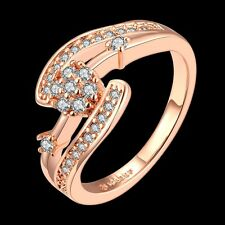 Fashion 18K Rose Gold Plated GP Sapphire Band Wedding Engagement Crystal Ring