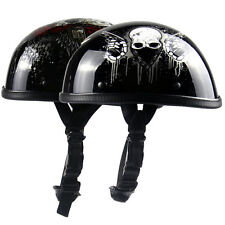 Summer Motorcycle Harley Open Face Half Helmets Bright Black Skull/Gun Patterns