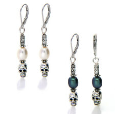 Freshwater Pearl Drop Skull Leverback Earring in 925 Sterling Silver 2 Colours