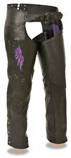 Ladies Naked Cowhide Leather Biker Chaps w/ PURPLE Wing Embroidery, Studding