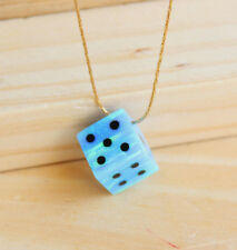 Dice opal necklace 10X10mm cube charm gemstone pendant 14K gold filled choker