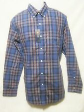 CHAPS Mens Button Front Casual Shirt,Blue Plaid,Long Sleeve,Easy Care,NEW $50