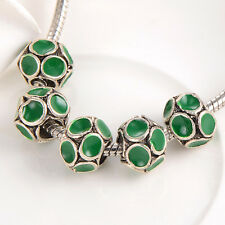 5pcs charm Enamel European beads Free shipping making jewelry Fashion womens