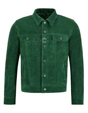'TRUCKER' Men's Green SUEDE 1280 Classic Real Cowhide Western Leather Jacket