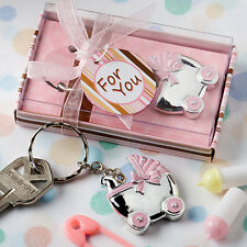 10 x Blue or Pink Baby Carriage Key Chain Favors Baby Shower Favour Boy or Girl