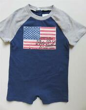 New Ralph Lauren Baby Boys Red White And Blue American Flag Shortall Romper