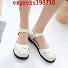 Women's Round Toe Ankle Strap Sandals Mary Jane Shoes Plus Size Flat Heels