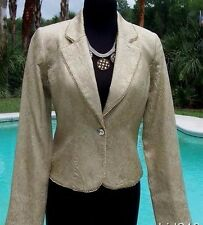 Cache $228 ELABORATE GOLD BROCADE Top JACKET NWT SILVER GOLD BEAD TRIM XS/SM/L