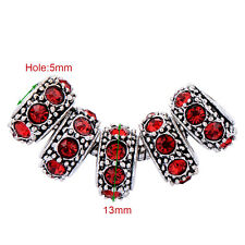 5pcs silver plated charms ruby red purple crystal beads big hole girls
