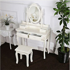 EUR IKEA White Wood Vanity Set Make Up Dressing Table W/ Oval Mirror&4 Drawers