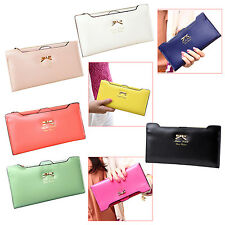 Soft Leather women wallets Bowknot Clutch bag Long PU Card Purse wallet SYH