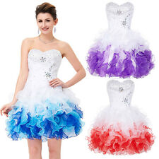 Evening Homecoming Party Cocktail Formal Short Bridesmaid Puffy Prom Dress White