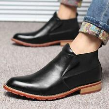 Mens Pointed Toe Shoes British Vintage Brogue Punk Leather chelsea Ankle Boots