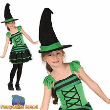 GREEN & BLACK CLASSIC PRETTY WITCH Age 4-10 Girls Childs Fancy Dress Costume