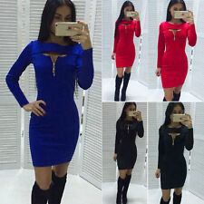 Sexy Womens Cocktail Party Evening Clubwear Slim Bodycon Long Sleeve Mini Dress