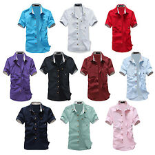 Fashion mens summer short-sleeve slim shirt casual Small Mushroom Embroidery SYH