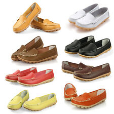 Women Flats 100% Genuine Leather Shoes Slip-on Comfort 8 Colors Moccasins SYH