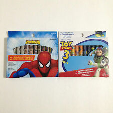 NEW 12 PACK NON TOXIC JUMBO CRAYONS COLORS MARVEL SPIDER MAN DISNEY TOY STORY