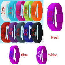 Mens Womens Sport Bracelet Striking Silicone LED Touch Digital Wrist Watch NEW
