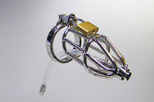 stainless steel dick cage male chastity belt + dialator tube CB device S&M 930