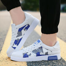 Mens Fashion Casual Leather Sneakers Breathable Floral Sports Shoes Board Shoes