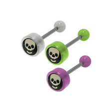 Skull Head Logo Barbell Tongue Ring