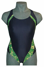 CHEX Swimming Costume Maldives Ladies Navy Green Pattern Swim Suit Strapped Back