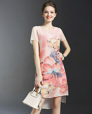 2016 New Arrival Fashion Womens OL Silk Short Sleeve Pink Flower Printed Dress