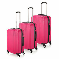 """Rose Red  20""""- 28"""" Luggage 4 Wheel Spinner Suitcase ABS Trolley Case Travel Bags"""