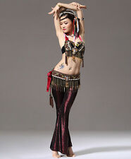 Brand New Egypt Tribal Belly Dance Costume 2Pics of Bra&Belt 34B/C 36B/C 38B/C