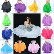 1x Belly Dance Costume Chiffon Three Layers Skirt Dress Girls Multi Color #YL