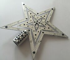 CHRISTMAS Silver Hand Decorated Star Tree Topper