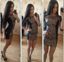 Women Sexy Leather Leopard Bandage Bodycon Evening Party Cocktail Mini Dress