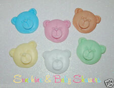 TEDDY BEAR FACES SOAPS - 5 PACK Baby Shower Gift Party Bag Favours Baby Powder