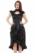Women's Black Gothic Long Steampunk Victorian Brocade Frill Dress Goth Emo