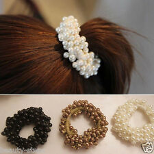 1Pc Women Hair Pearl Ponytail Holder Ring Tie Elastic Hair Band Rope Accessories
