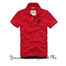 NEW ABERCROMBIE FITCH KIDS A&F Boys Cotton Message Graphic Polo Shirt Red M L XL
