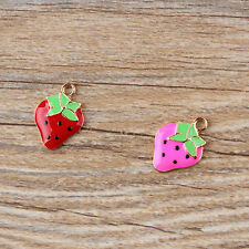 Charming 20PCS Enamel Strawberry Charm Pendants Gold Tone Charms Jewlery 22x15mm