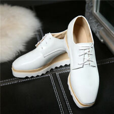 College Women's Fashion Platform Wedge Heel Lace Up Casual Comfort Oxford Shoes