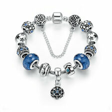 Ocean Blue Love Silver Charm Bracelet with European charm bead & Safe Chain