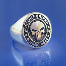 Marine USMC 8541 Scout Sniper Ring w/Punisher Sterling Silver  (39)